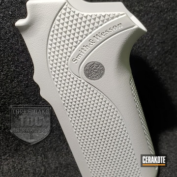 Smith & Wesson Pistol Grip Cerakoted Using Satin Aluminum And Bright White