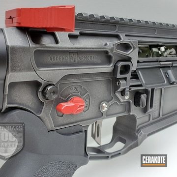 Ar-15 Cerakoted Using Armor Black, Tactical Grey And Ruby Red