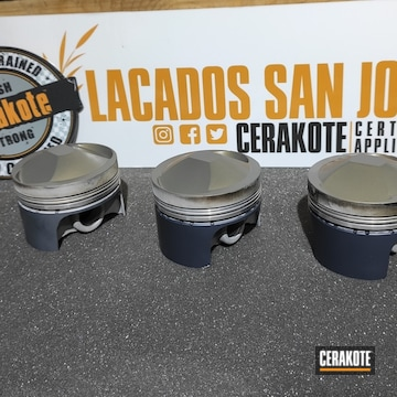 Pistons Cerakoted Using Micro Slick Dry Film Lubricant Coating (air Cure) And Piston Coat (air Cure)