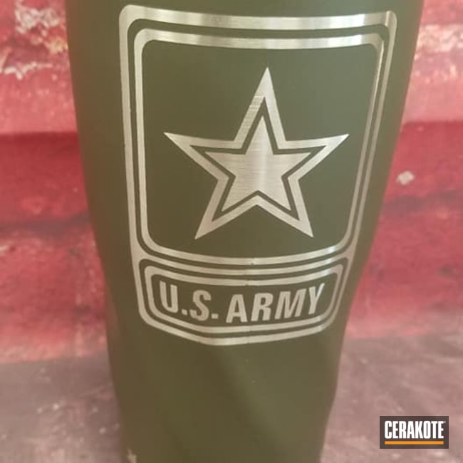 Cerakoted: S.H.O.T,United States Army,Patriotic,Drinkware,20 oz,O.D. Green H-236,Stainless Steel Cup,U.S. Army,Military,Tumbler,Hogg
