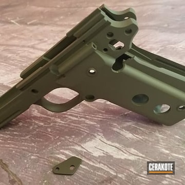 1911 Pistol Frame Cerakoted Using O.d. Green