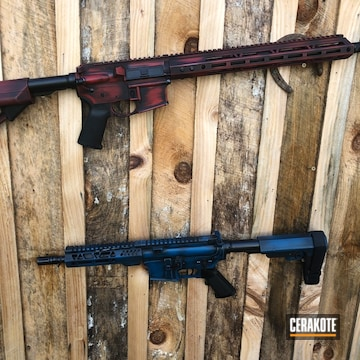 Battleworn Ar's Cerakoted Using Sky Blue, Graphite Black And Smith & Wesson® Red