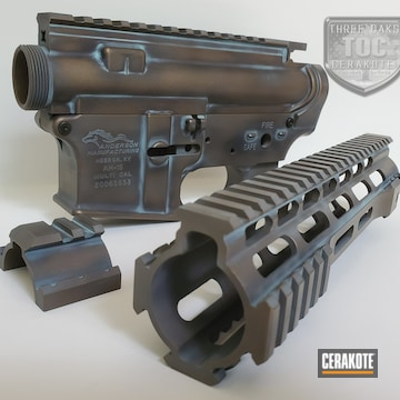 Anderson Ar Builders Kit Cerakoted Using Armor Black, Robin's Egg Blue And Burnt Bronze