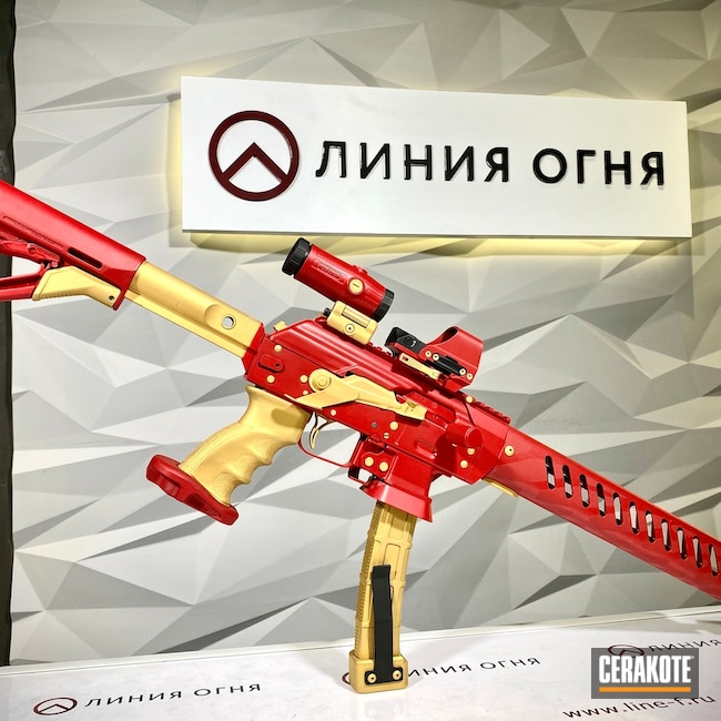 Cerakoted: S.H.O.T,theclients,ironman,ufaev,Custom Gun,LineFTuning,Iron Man,Arms Line,Saiga,Tactical Colors,RUBY RED H-306,Gold V-172,AK