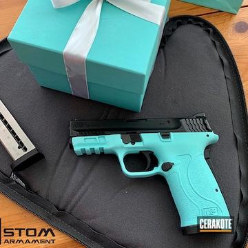 Smith & Wesson M&p Shield Ez Cerakoted Using Robin's Egg Blue