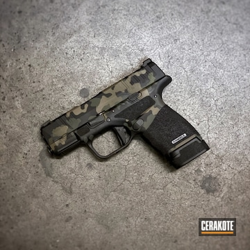 Multicam Springfield Armory Hellcat Cerakoted Using Desert Sand, Coyote Tan And Graphite Black