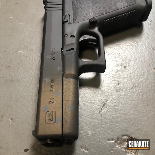 Cerakoted: S.H.O.T,Sniper Grey H-234,Graphite Black H-146,Distressed,Pistol,Glock,American Flag,45 ACP,Gold H-122