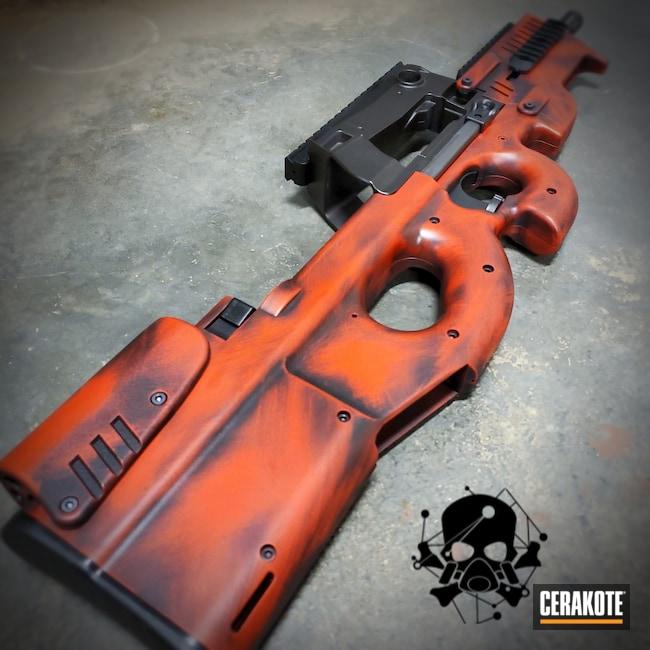 Cerakoted: S.H.O.T,FN Mfg.,.45,PS90,FIREHOUSE RED H-216,Graphite Black C-102,Fnps90,FN