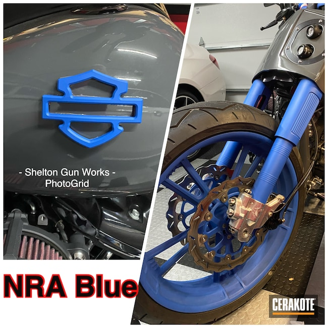 Cerakoted: NRA Blue H-171,Harley Davidson,Motorcycle Forks,Automotive,Wheels