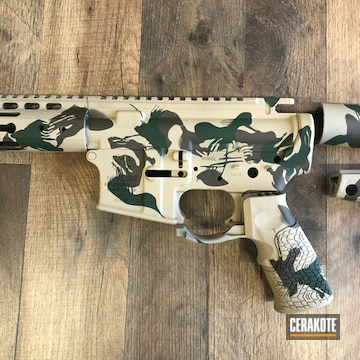 Rhodesian Brushstroke Camo Noveske Cerakoted Using Patriot Brown, Highland Green And Coyote Tan
