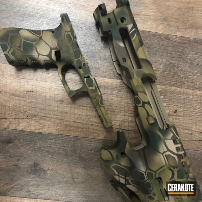 Custom Kryptek Camo Glock Frame Cerakoted Using Patriot Brown, Highland Green And Multicam® Olive