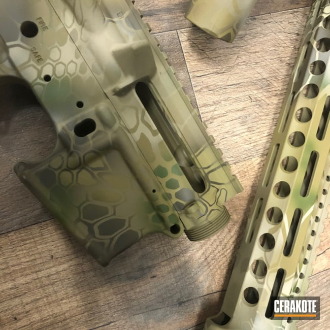 Cerakoted: S.H.O.T,Rifle,MULTICAM® BRIGHT GREEN H-343,Coyote Tan H-235,MAGPUL® FLAT DARK EARTH H-267,Desert Sand H-199,Patriot Brown H-226,Camo,.223,Highlander Kryptek,AR-15