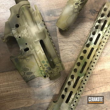 Kryptek Ar Builder Set Cerakoted Using Desert Sand, Patriot Brown And Multicam® Bright Green