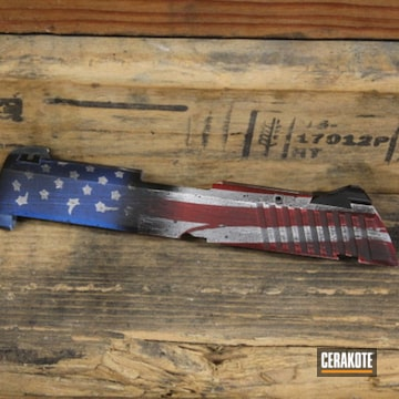 Battleworn United States Flag Ruger Slide Cerakoted Using Bright White, Usmc Red And Nra Blue