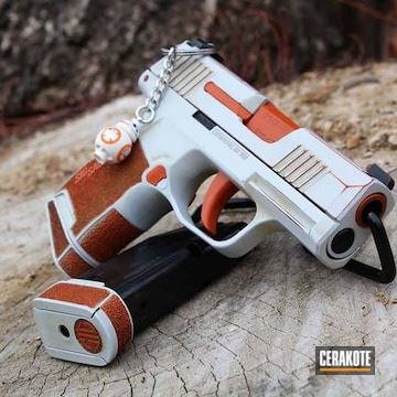 Stars Wars Sig Sauer P365 Cerakoted Using Hunter Orange, Crimson And Hidden White