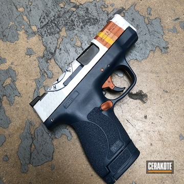 Smith & Wesson M&p Shield 40 Cerakoted Using Kel-tec® Navy Blue, Sunflower And Bright White