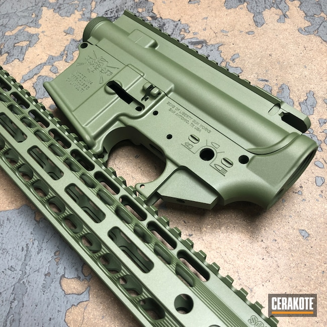 Cerakoted: S.H.O.T,Custom Mix,Rifle,MULTICAM® BRIGHT GREEN H-343,SOLGW,Custom Color,Upper / Lower / Handguard,Tactical Rifle,Gun Parts,Match Anodized,Green Ano Mimic,AR-15