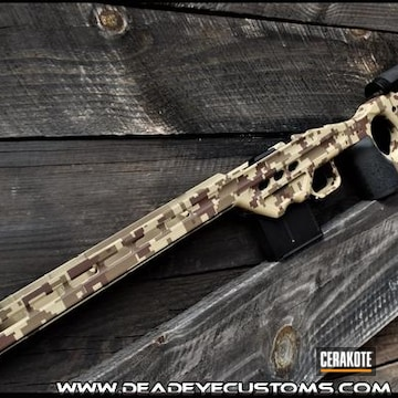 Digital Camo Rifle Chassis Cerakoted Using Desert Sand, Federal Brown And Barrett® Bronze