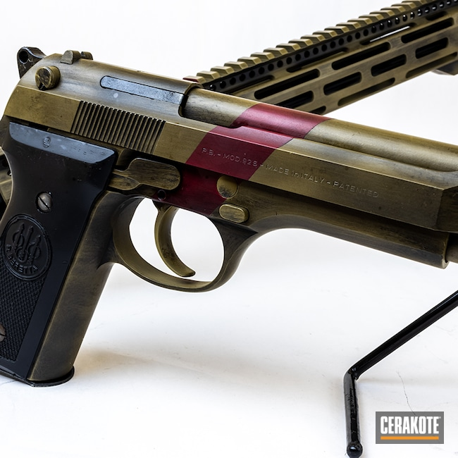 Cerakoted: S.H.O.T,Rifle,Stripe,Pistol,Beretta 92S,.223,Matching Set,5.56,9mm,92S,Coyote Tan H-235,Sedona H-333,Battleworn,Graphite Black H-146,Beretta,AR-15