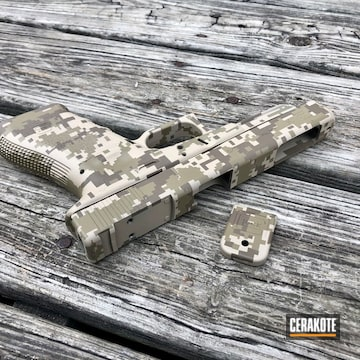 Digital Desert Camo Glock Cerakoted Using Desert Sand, Coyote Tan And Flat Dark Earth