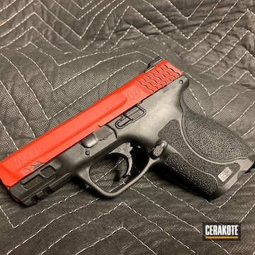 Smith & Wesson M&p 40 Cerakoted Using Habanero Red And Blackout