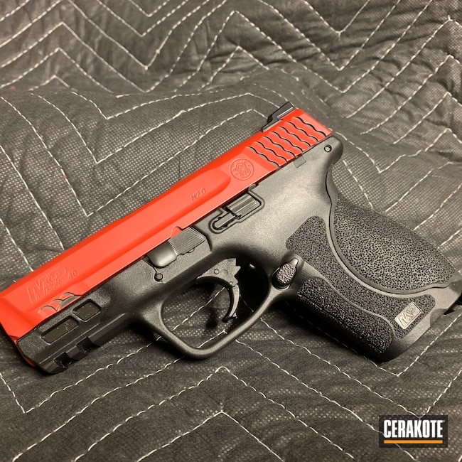 Cerakoted: S.H.O.T,BLACKOUT E-100,Smith & Wesson,HABANERO RED H-318,Pistol,M&P40,Sword and Shield,M&P 40,40cal