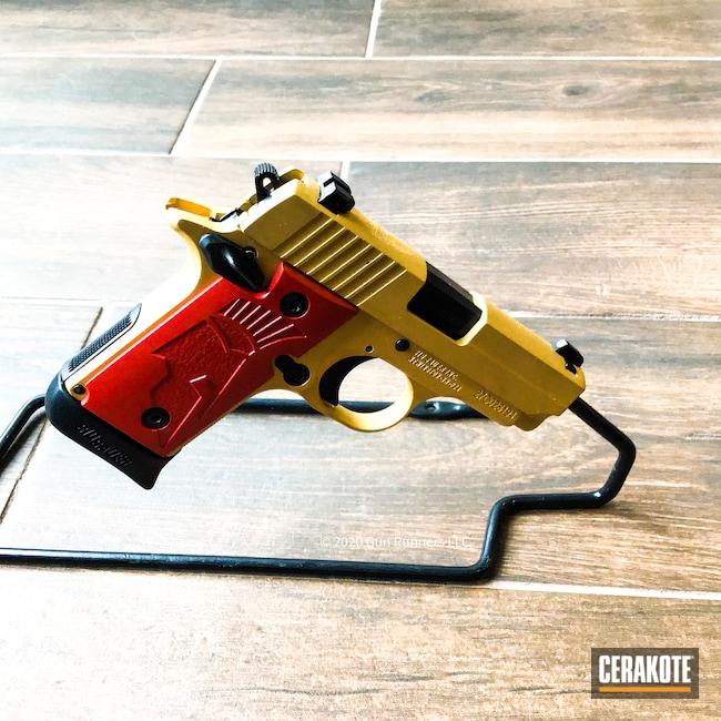 Cerakoted: S.H.O.T,.380,Crimson H-221,Sig Sauer,Gold H-122