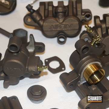 Motorcycle Parts Cerakoted Using Burnt Bronze