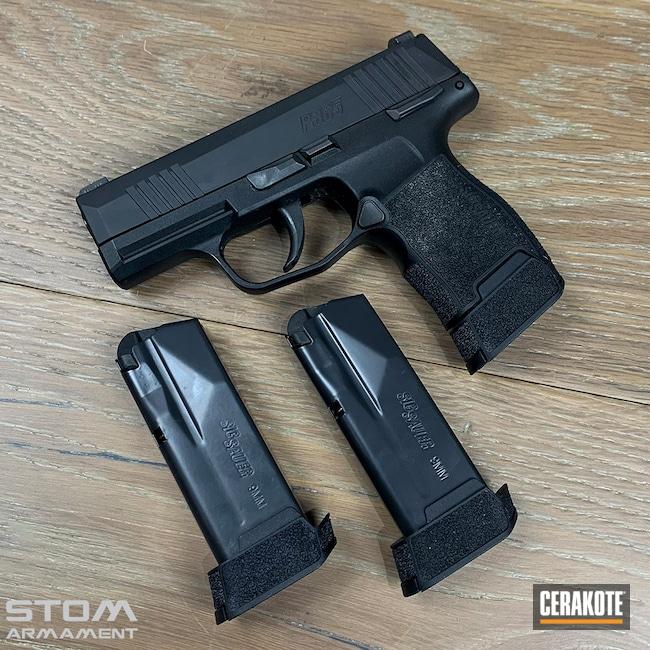 Cerakoted: BLACKOUT E-100,p365,Armor Black H-190,Sig Sauer,Handgun