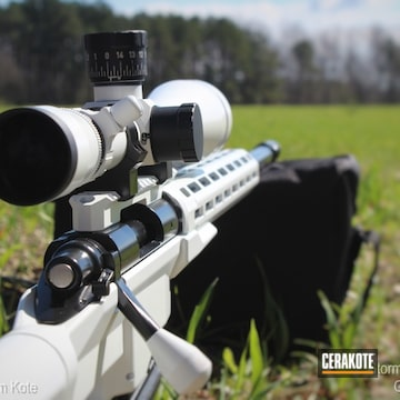 Remington Bolt Action Rifle Cerakoted Using Stormtrooper White And Gloss Black