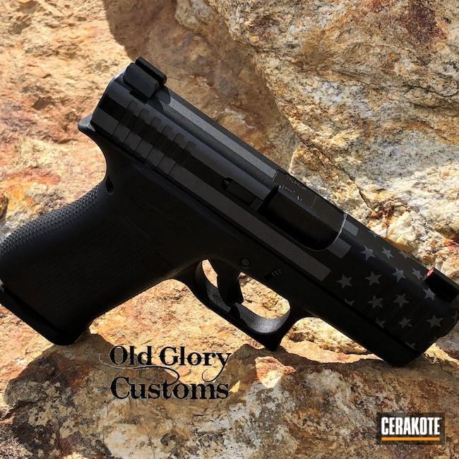 Cerakoted: S.H.O.T,Glock 43X,Armor Black H-190,Gun Metal Grey H-219,Glock,American Flag,Ghost Flag