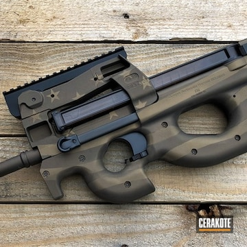 Fn Ps90 Cerakoted Using Midnight Bronze, Graphite Black And Burnt Bronze