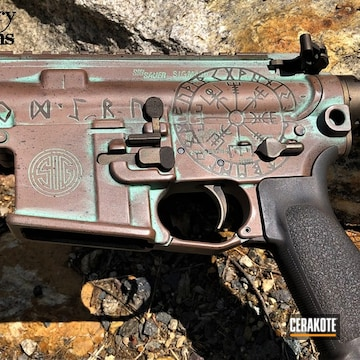 Distressed Sig Sauer Ar Cerakoted Using Plum Brown, Zombie Green And Sky Blue