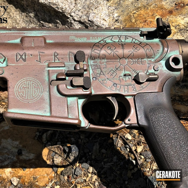 Cerakoted: S.H.O.T,Norseman,Robin's Egg Blue H-175,Viking,Distressed,Zombie Green H-168,Sig Sauer,Plum Brown H-298,Sig Sauer M400,Graphite Black H-146,BARRETT® BRONZE H-259,Stainless H-152,Burnt Bronze H-148,Runes,Copper Brown H-149,Sky Blue H-169