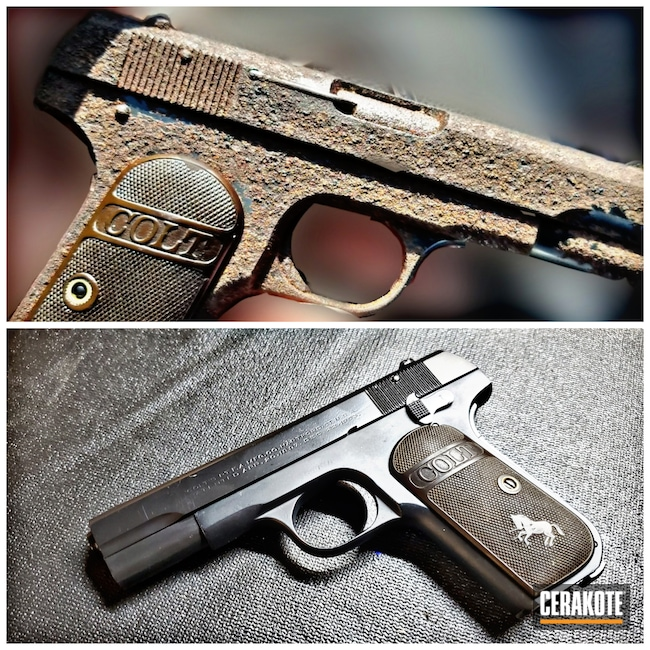Cerakoted: S.H.O.T,.32 ACP,BLACKOUT E-100,Graphite Black H-146,Pocket Hammerless,Colt,Pistol,EDC,Before and After