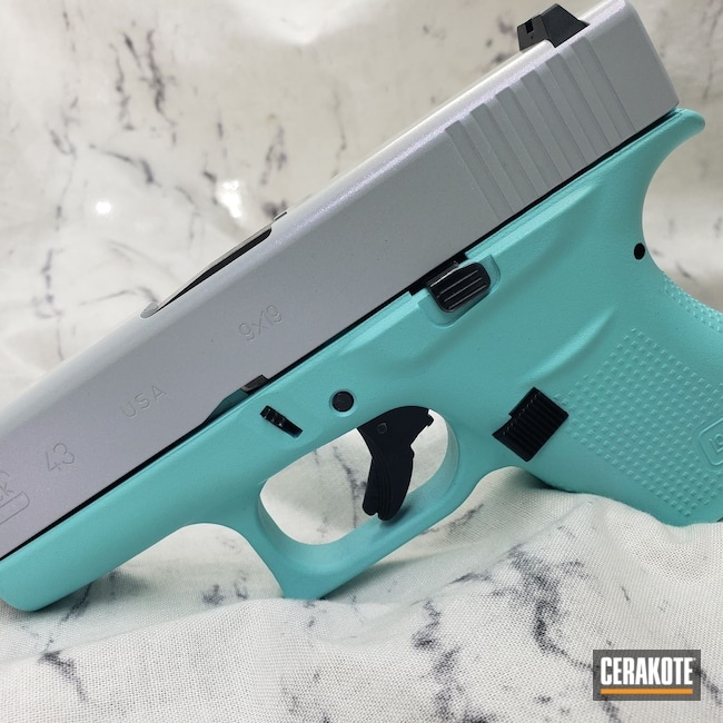 Cerakoted: S.H.O.T,9mm,#Gun Candy,Robin's Egg Blue H-175,Hesseling,Shimmer,BATTLESHIP GREY H-213,Glock,GunCandy Pegasus,Glock 43,Color Shift,Ladies