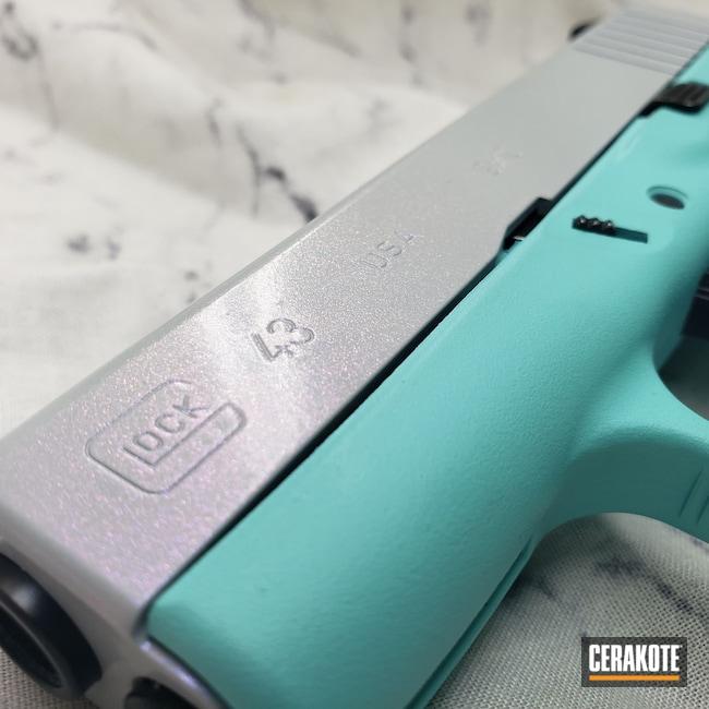 Cerakoted: S.H.O.T,9mm,#Gun Candy,Robin's Egg Blue H-175,Hesseling,Shimmer,BATTLESHIP GREY H-213,Glock,GunCandy Pegasus,Glock 43,Ladies,Color Shift