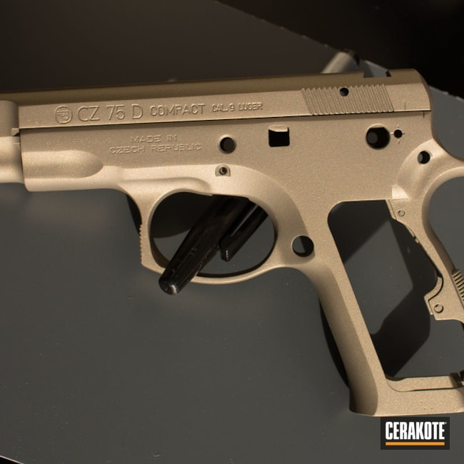 Cz 75 D Compact Cerakoted Using Bright Nickel, Burnt Bronze And Gold