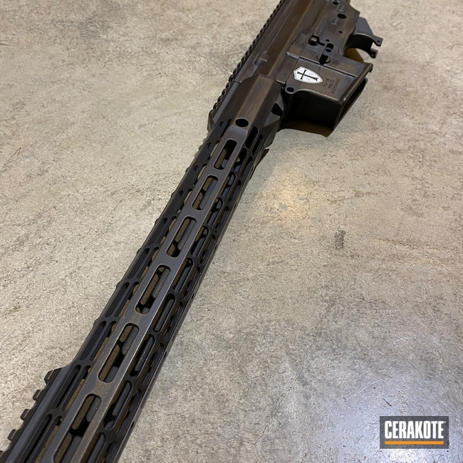 Cerakoted: S.H.O.T,Rifle,Palmetto State Armory,Aero Precision,PA-15,AR Pistol,Battleworn,Distressed,Armor Black H-190,Midnight Bronze H-294,Wartorn,Custom AR