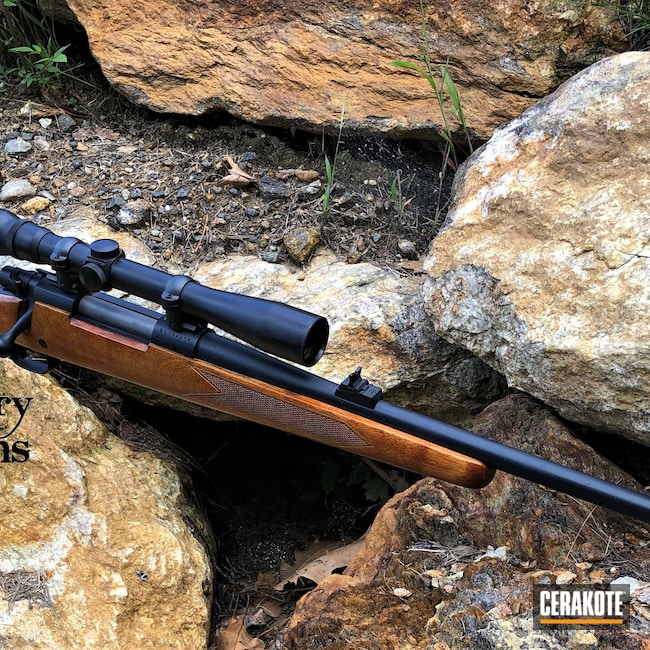 Cerakoted: S.H.O.T,Winchester,Winchester 70,Hunting Rifle,Graphite Black H-146,Socom Blue H-245,Refinished,Ruger 30-06