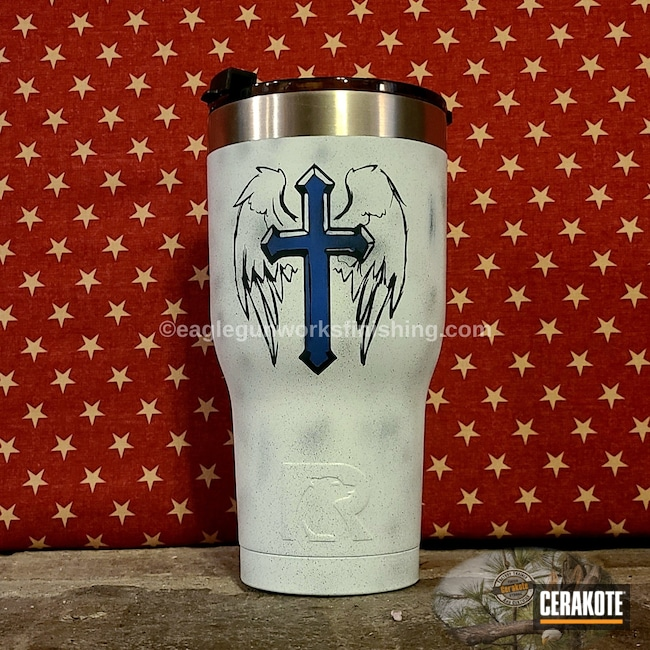 Cerakoted: Midnight Blue H-238,Thin Blue Line,NRA Blue H-171,Battleworn,Cross,Distressed,Stormtrooper White H-297,RTIC Tumbler,American Flag,RTIC,Tumbler,Angel Wings