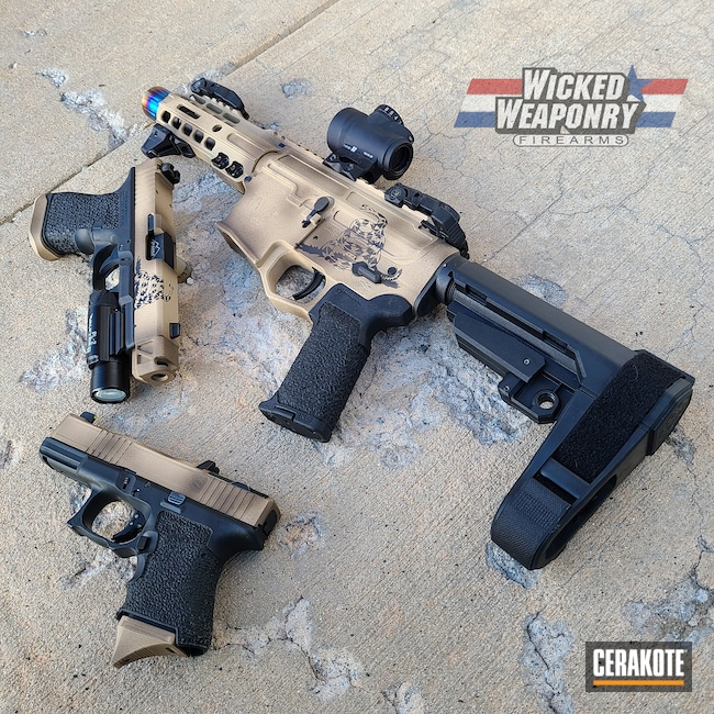 Cerakoted: S.H.O.T,Gasden Flag,Dont Tread On Me,Distressed,wickedweaponry,Firearms,Handgun,Glock 19,gasden,Desert Sand H-199,Patriot Brown H-226,Camo,Glock,AR-15,War-Gx