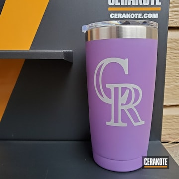 Custom Yeti Tumbler Cerakoted Using Crushed Silver And Bright Purple