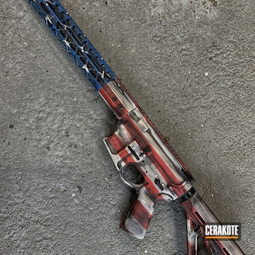 Distressed United States Flag Ar Cerakoted Using Snow White, Nra Blue And Graphite Black
