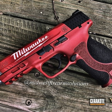 Milwaukee Tools Themed Smith & Wesson M&p 40 Cerakoted Using Snow White, Titanium And Graphite Black