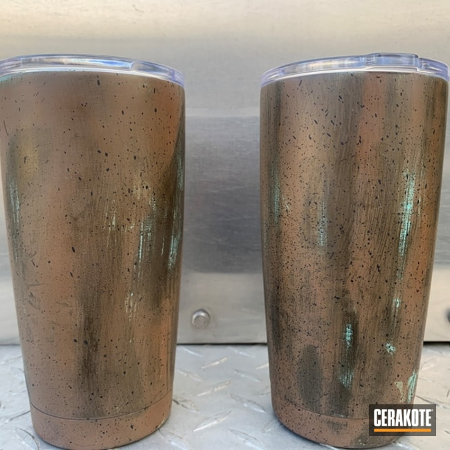 Custom Yeti Tumbler Cerakoted Using Midnight Bronze, Robin's Egg Blue And Copper Brown