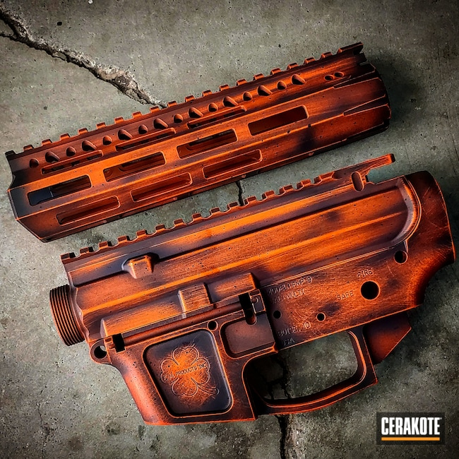 Cerakoted: S.H.O.T,Graphite Black H-146,Hunter Orange H-128,AR-15