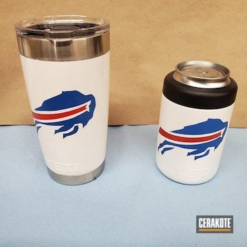 Custom Buffalo Bills Yeti Tumbler Cerakoted Using Stormtrooper White, Nra Blue And Smith & Wesson® Red