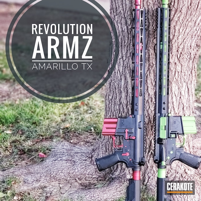 Cerakoted: Aero,Zombie Green H-168,Anderson,Armor Black H-190,Strike Industries,Revolution Armory,CMMG,AM15,16 Gauge,Rosco Bloodline,Iron Man Red,#WarockCustoms,His and Hers,.223 Wylde