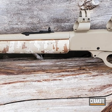 Marlin Model 336 Rifle Cerakoted Using Mcmillan® Tan, Matte Ceramic Clear And Graphite Black